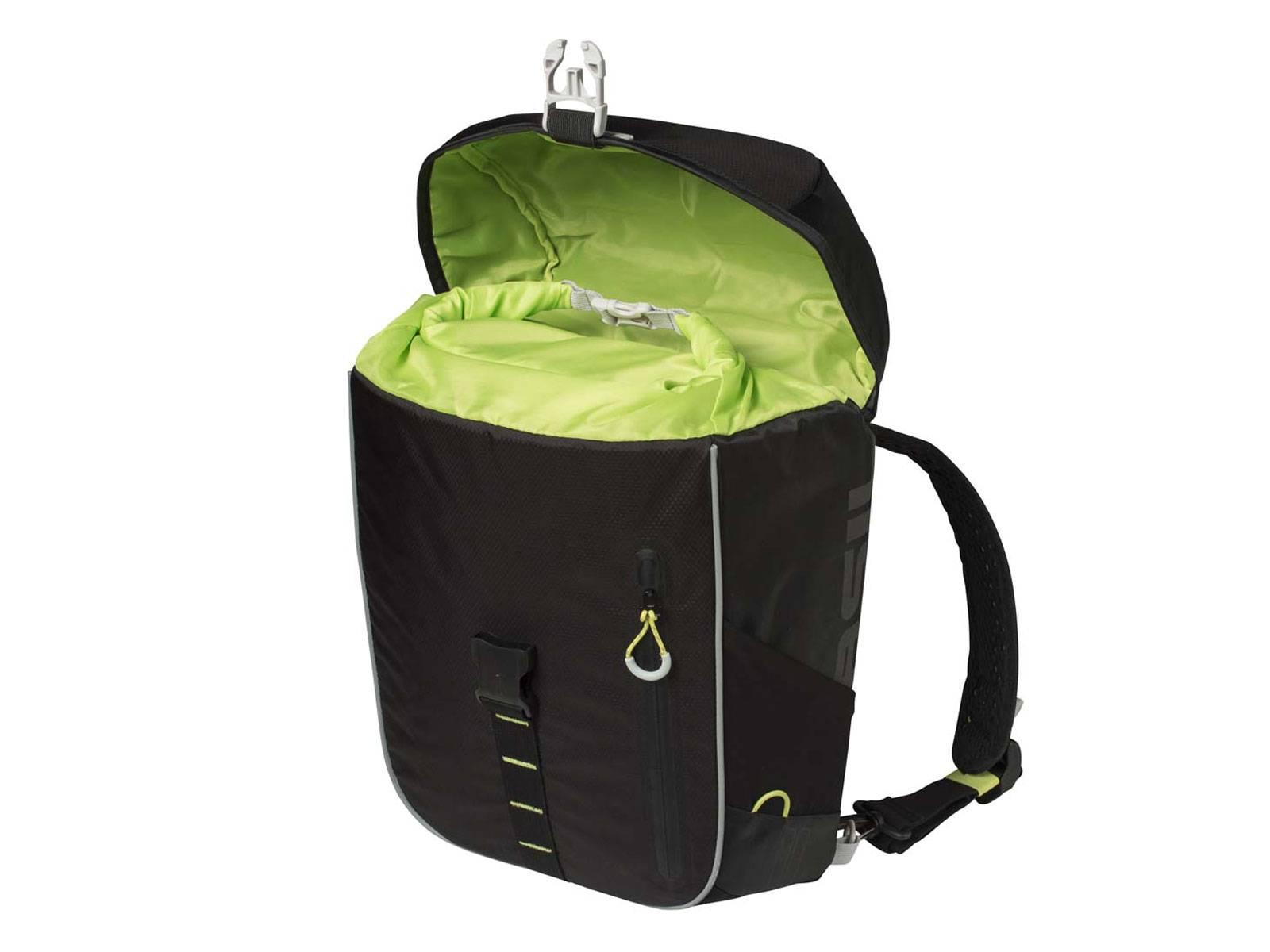 basil fahrradtasche rucksack miles schwarz lime fahrradkomfort. Black Bedroom Furniture Sets. Home Design Ideas