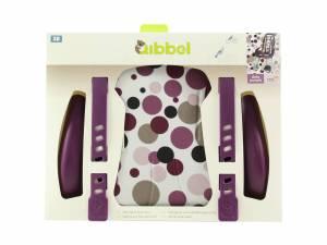 Qibbel Luxus styling set Fahrrad Kindersitz vorne Dots Lila