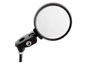Mirage-Fahrradspiegel Rundes bar-end mit Stecker auf Karte. Der Spiegel besteht aus unzerbrechlichem Glas, das Gehäuse und die Halterung sind aus hochwertigem Kunststoff, Schrauben und Metallteile sind rostfrei. Leicht einstellbar für jeden Winkel. Geeigne